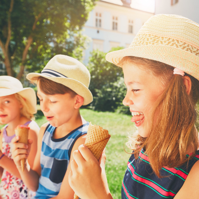 """Siblings with ice cream"" stock image"