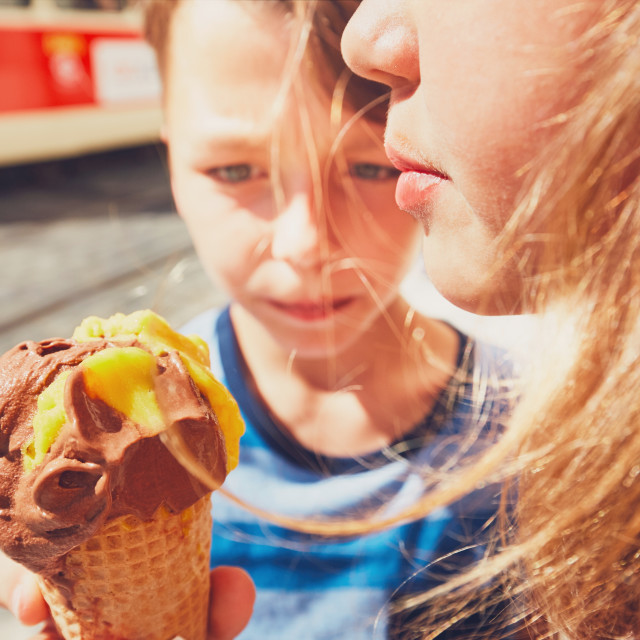 """""""Siblings with ice cream"""" stock image"""