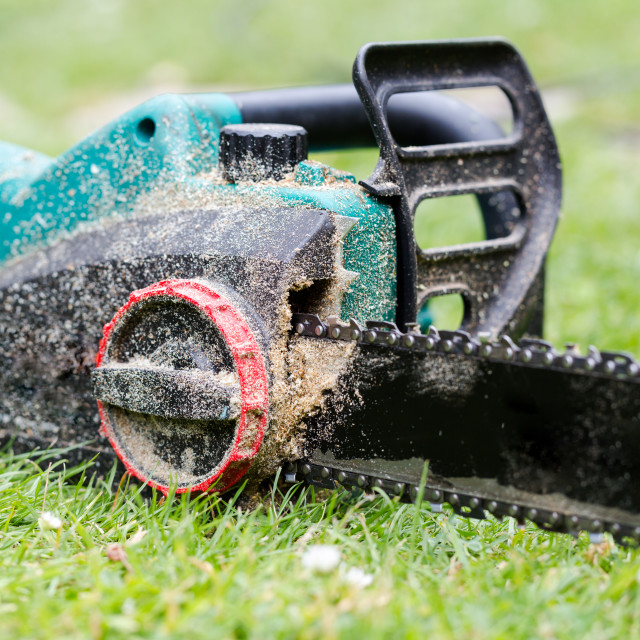 """""""Dirty in sawdust chain saw on grass in garden close up"""" stock image"""