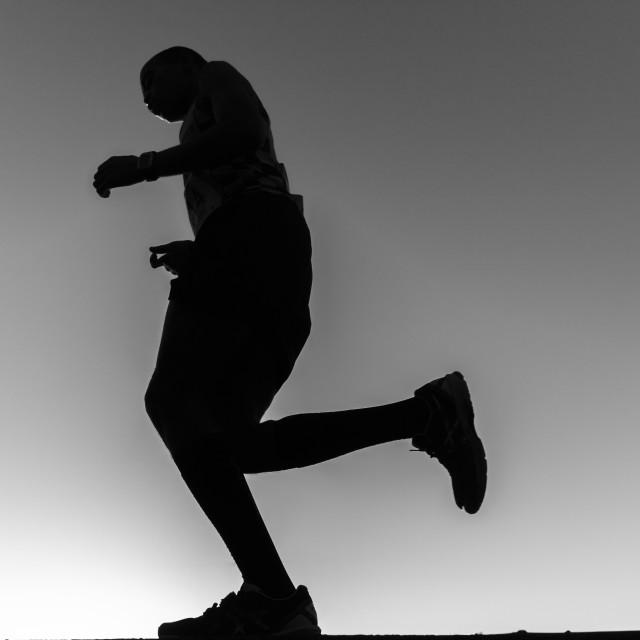 """""""Marathon Runner Black Whitre"""" stock image"""