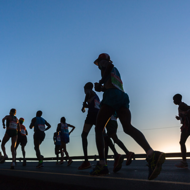 """Marathon Runners Dawn Race"" stock image"