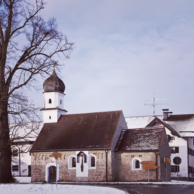 """Bavaria in winter, rural chapel with onion dome"" stock image"