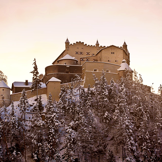 """Austria - medieval Hohenwerfen Castle built in XI century"" stock image"