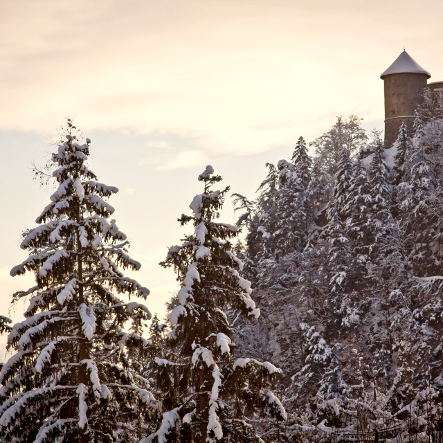 """Austria, Winter lanscape at sunset with snow and Hohenwerfen Castle walls"" stock image"