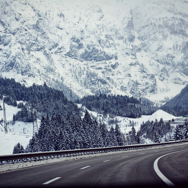 """Austria, A10 motorway from Salzburg to Villach in winter with snow"" stock image"
