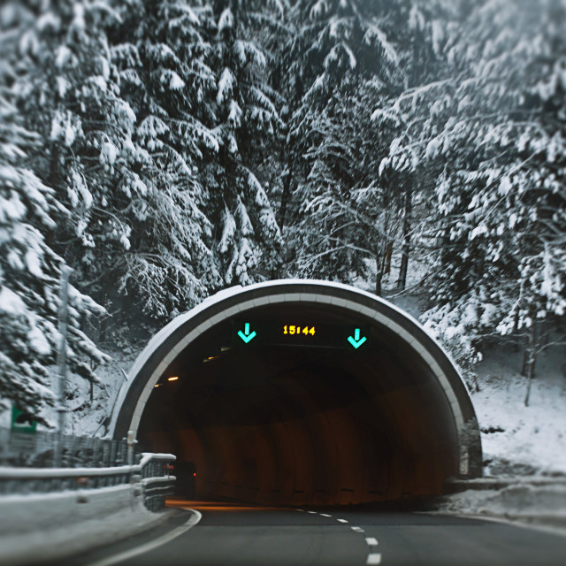 """""""Driving direct to the tunnel, winter view"""" stock image"""