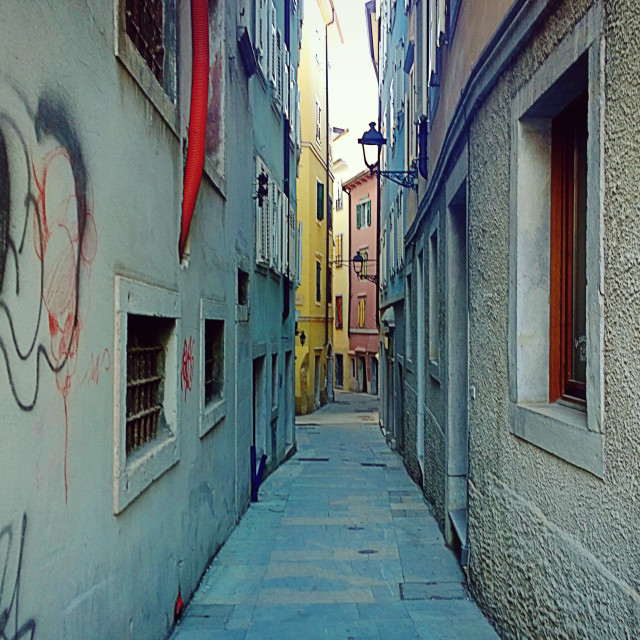 """narrow passage in Trieste old town"" stock image"