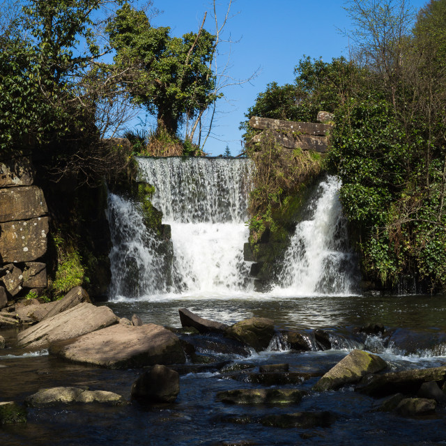"""Waterfall at Penllergare"" stock image"