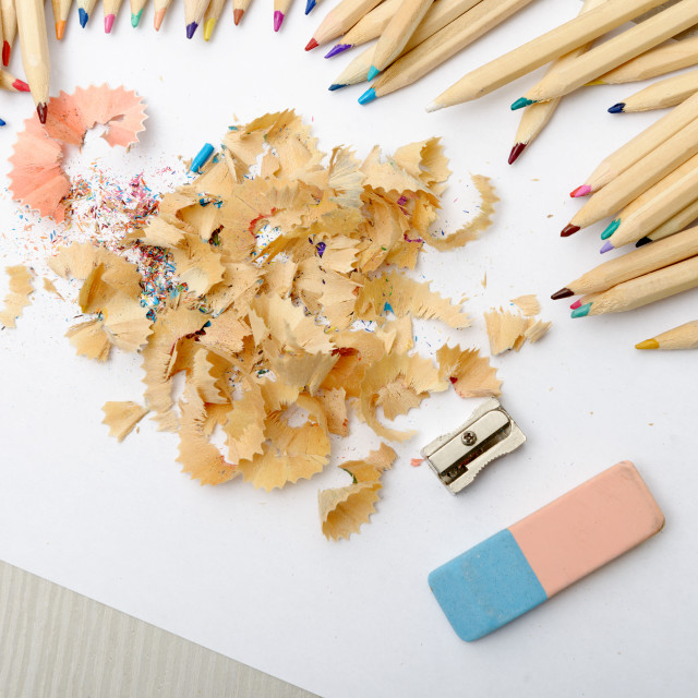 """""""colored pencils, eraser and pencil sharpener"""" stock image"""