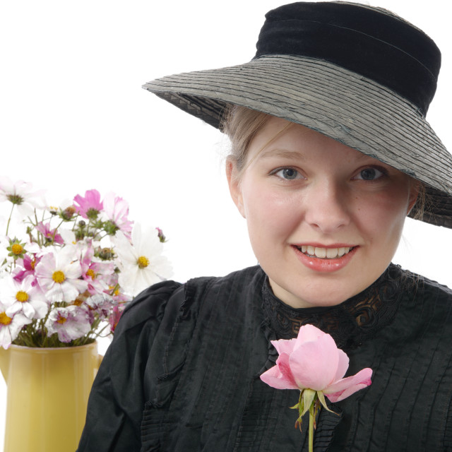 """""""young woman in vintage costume 1900s"""" stock image"""