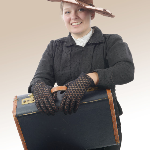 """young smiling woman in vintage costume 1900s"" stock image"