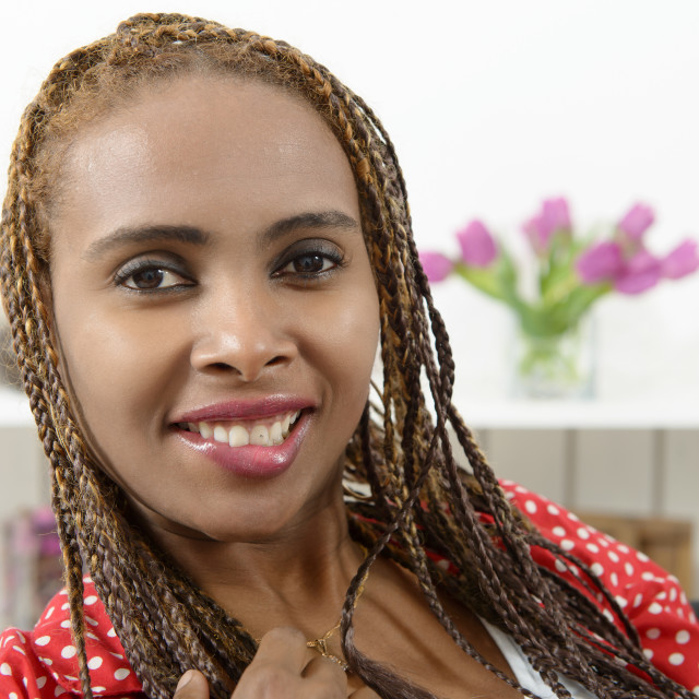 """""""cute young african american woman with braids"""" stock image"""