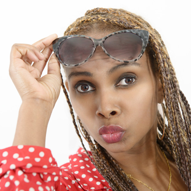 """""""Beautiful young african american woman with braids"""" stock image"""