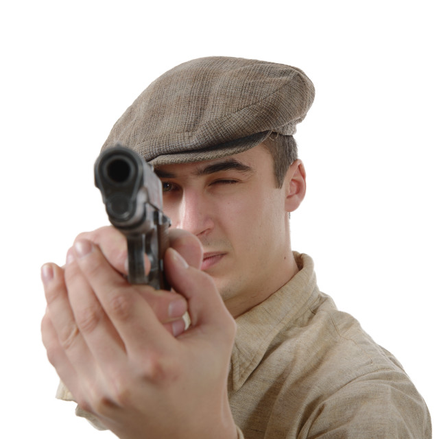 """""""french gangster with a firearm, on white"""" stock image"""