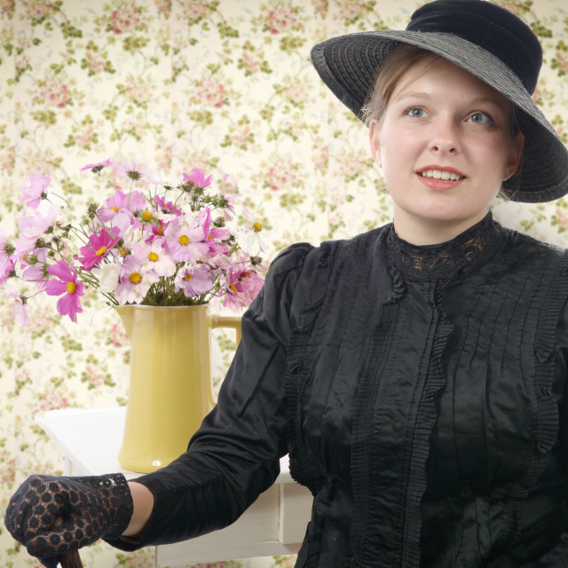 """young woman in vintage costume 1900s"" stock image"