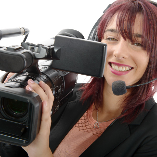 """""""young woman with a professional video camera"""" stock image"""