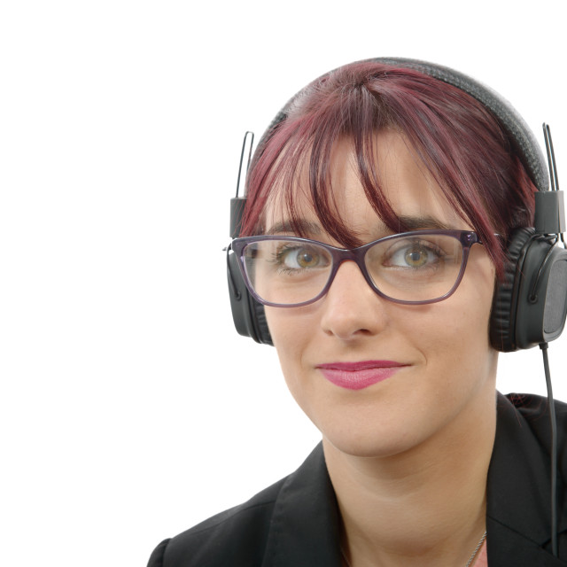 """""""portrait of a beautiful young woman with headphones"""" stock image"""