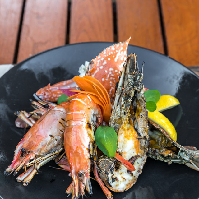 """""""delicious grilled seafood platter"""" stock image"""