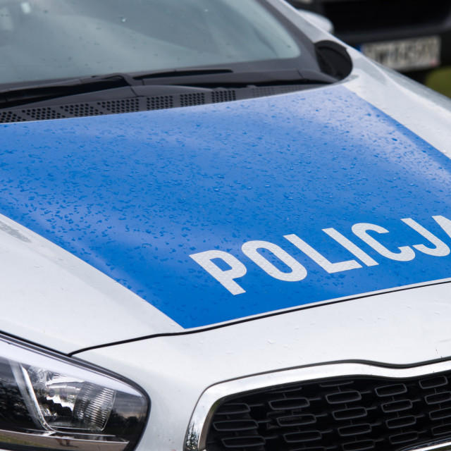 """""""close up on Policja (Police) sign on car"""" stock image"""
