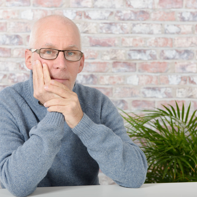 """""""handsome mature man with blue pullover"""" stock image"""