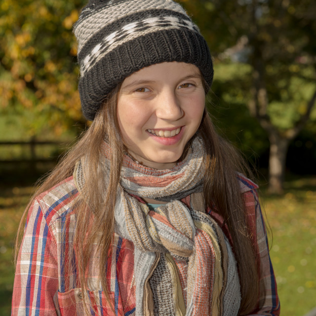 """""""young pre teen with a winter cap, outdoors"""" stock image"""