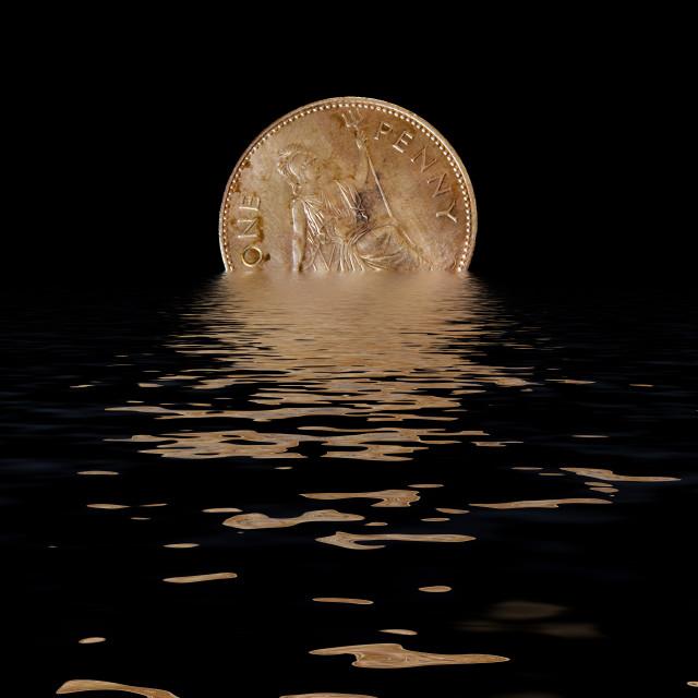 """Digital illustration Pre-decimal British penny coin depicting Britannia setting like a sun Concept Devaluation."" stock image"