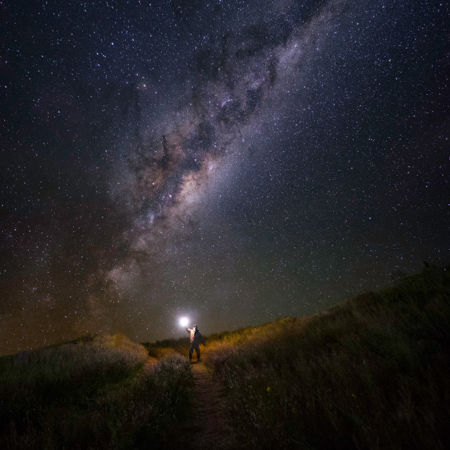 """Walking under the Milky way"" stock image"