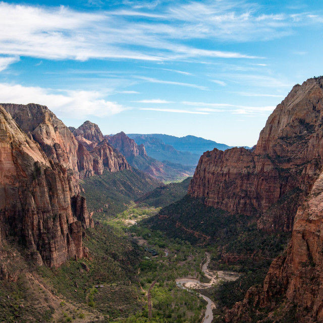 """View from Angels Landing, Zion National Park, Utah"" stock image"