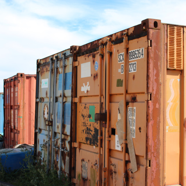 """""""Shipping containers at Dungeness"""" stock image"""