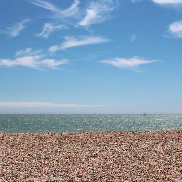 """""""Beach at Dungeness"""" stock image"""