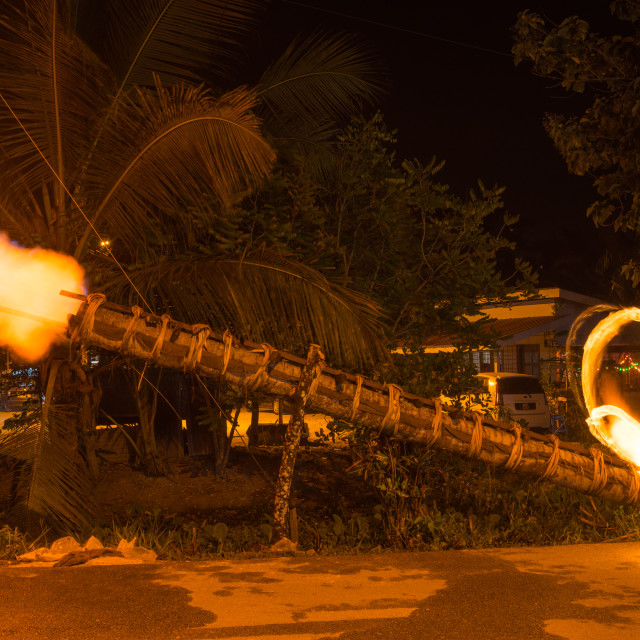 """""""Traditional cannon made from coconut tree"""" stock image"""