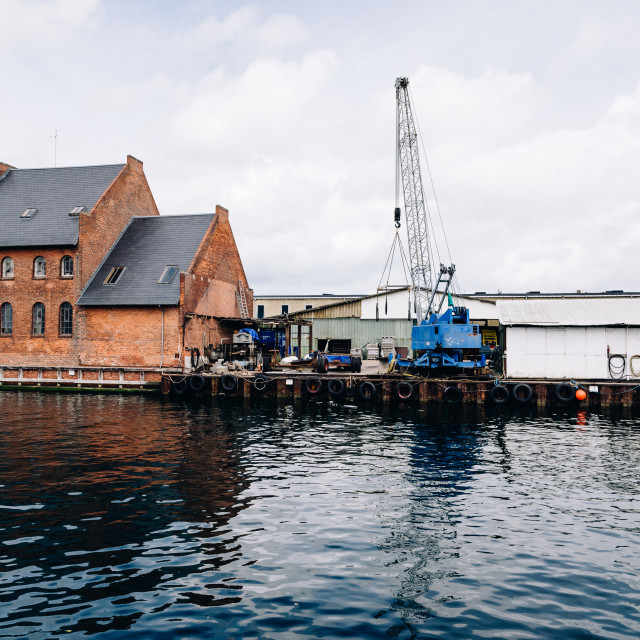 """""""Port of Copenhagen with blue crane a cloudy summer day"""" stock image"""