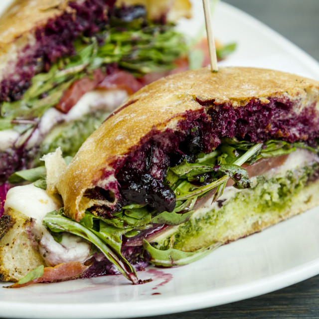 """Blueberry jam and basil pesto sandwich"" stock image"