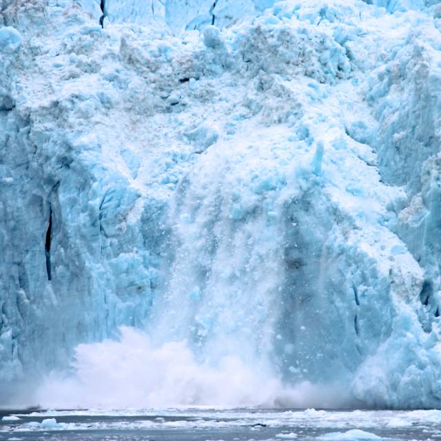 """Hubbard Glacier calving in Alaska"" stock image"