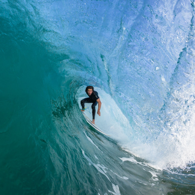 """Surfing Surfer Wave Tube Ride"" stock image"