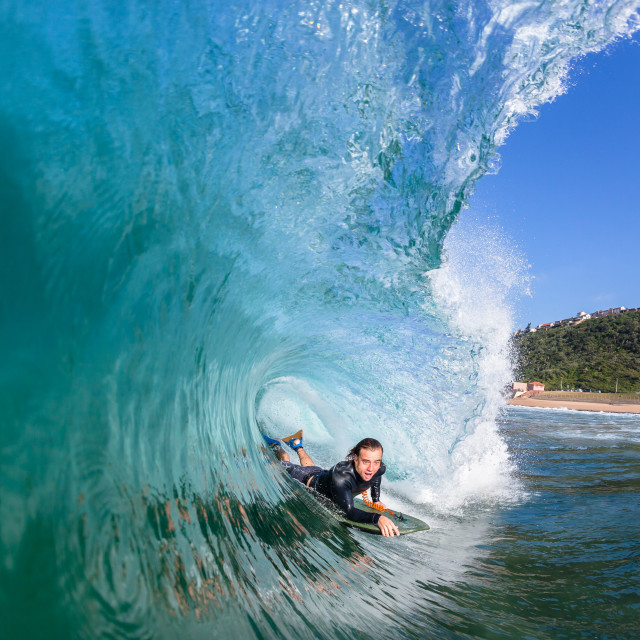 """""""Surfing Surfer Wave Tube Ride"""" stock image"""