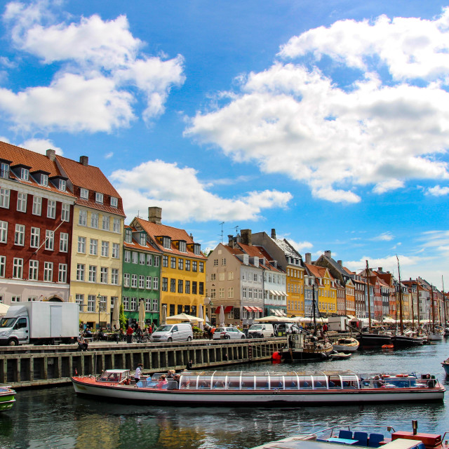 """Nyhavn is a waterfront, canal and entertainment district in Copenhagen, Denmark."" stock image"