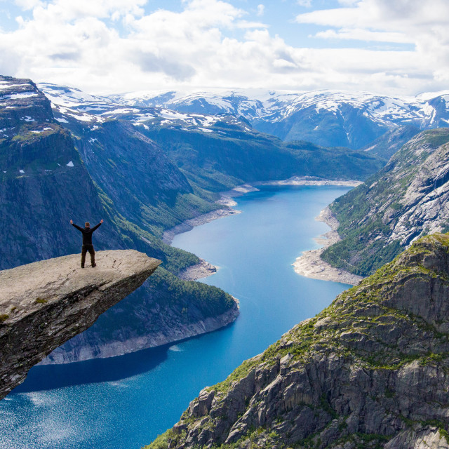 """People in nature at Trolltunga in Norway"" stock image"