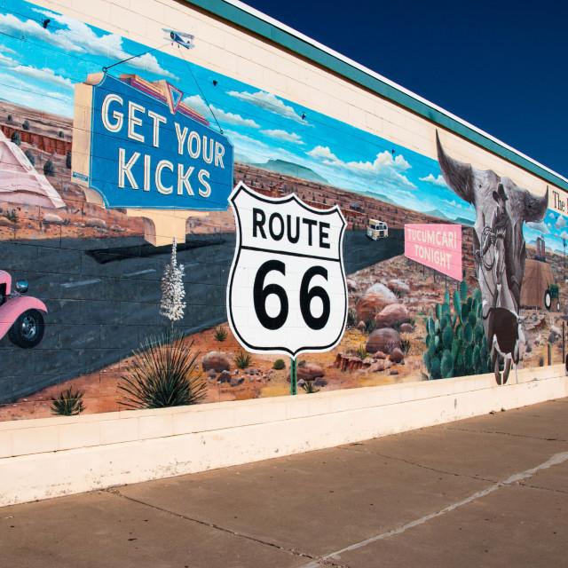 """""""Route 66 wall art in Tucumcari, New Mexico"""" stock image"""