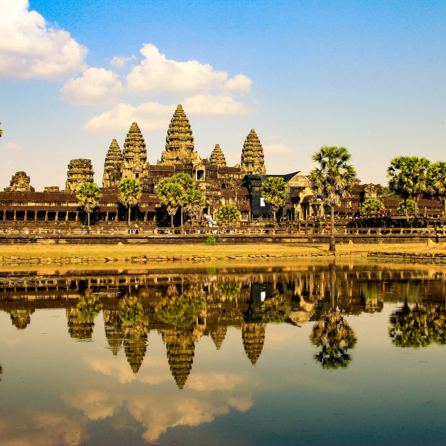 """Angkor Wat is a temple complex in Cambodia and the largest religious monument in the world"" stock image"