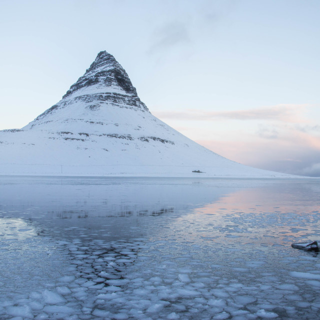 """Kirkjufell in winter, Iceland"" stock image"