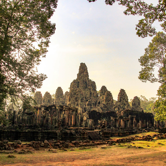 """The Bayon temple, Angkor, Cambodia"" stock image"