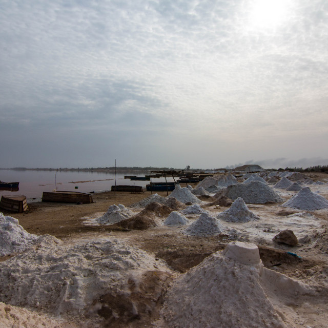 """Piles of salt around Lake Retba or Lac Rose in Senegal just outside Dakar"" stock image"
