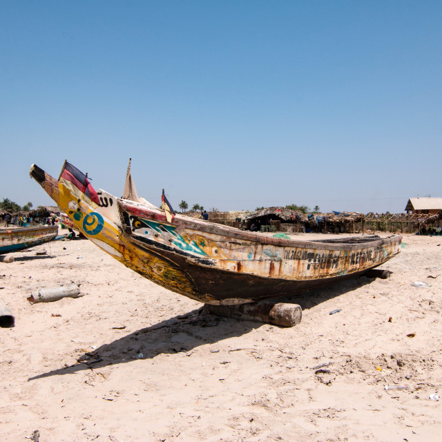 """Fishing boats on Paradise Beach in Sanyang, the Gambia"" stock image"