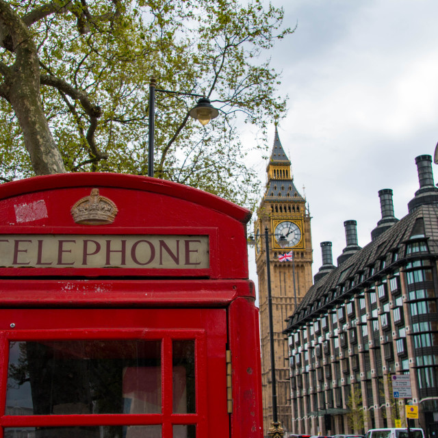 """Red telephone box in front of Big Ben and Westminster Palace in London, United Kingdom"" stock image"