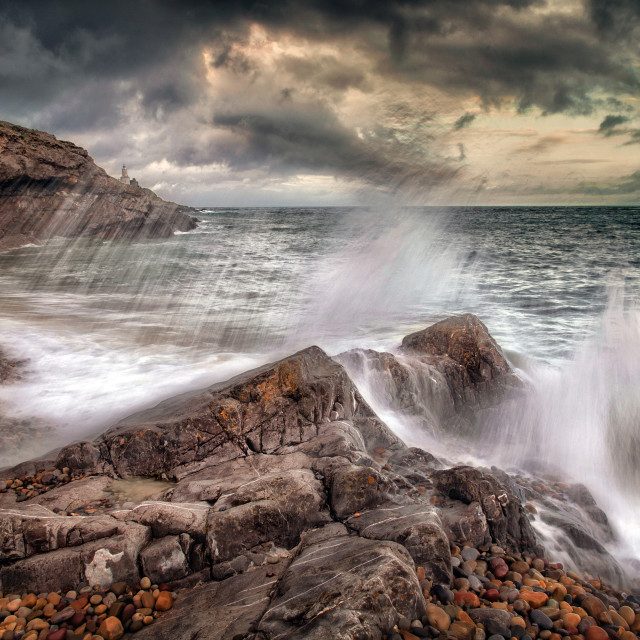 """""""Crashing waves and storm clouds"""" stock image"""
