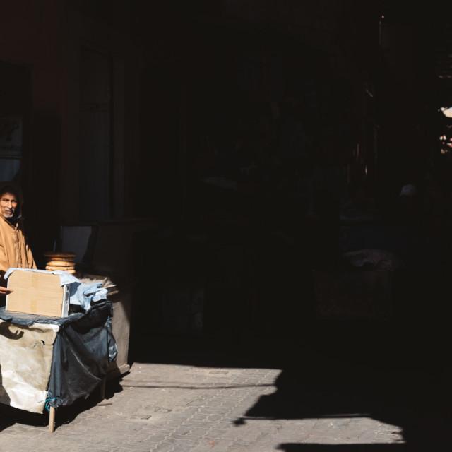 """Dark Alley in Marrakech"" stock image"