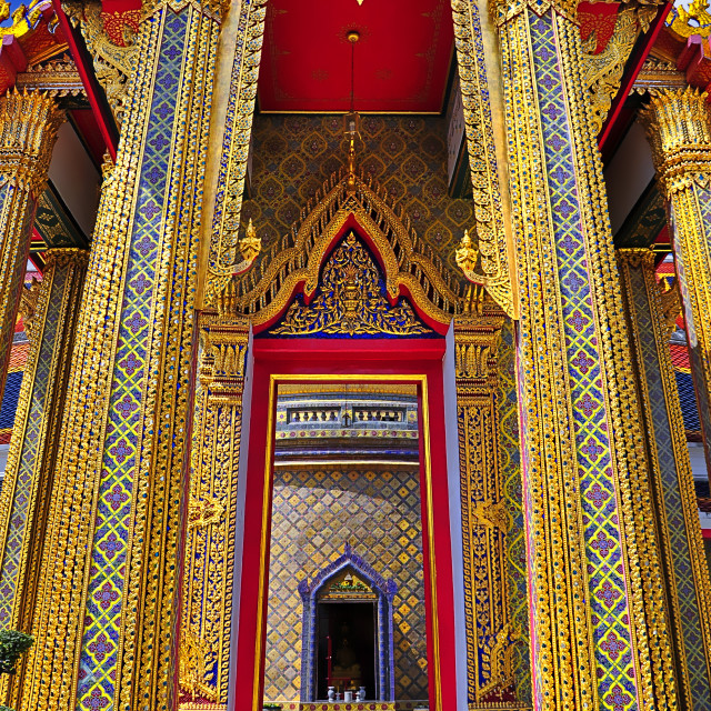 """""""Enter the central chedi at Wat Ratchabopit"""" stock image"""