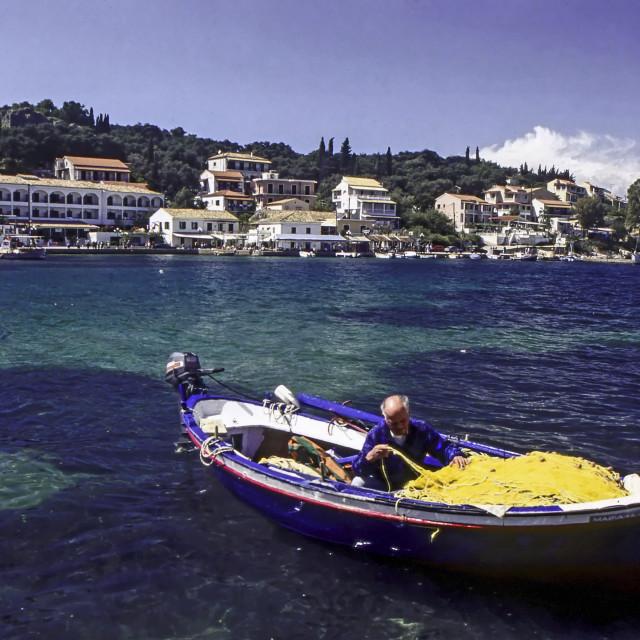 """Fishing Boat, Kassiopi, Corfu, Greece"" stock image"