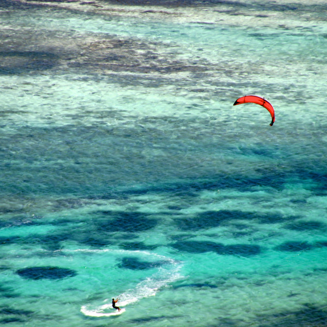 """Kitesurfing in the Caribbean Ocean, near Union Island, Saint Vincent and the Grenadines"" stock image"
